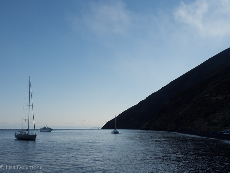 Leaving stromboli as the light fades