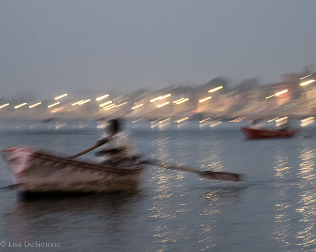 Predawn boats on the Ganges River: Varanasi, India.