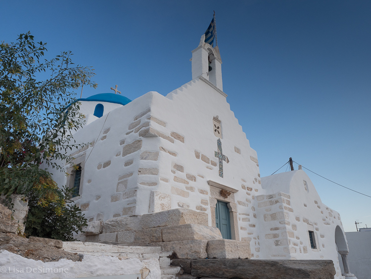 One of many white-washed churches in Greece: this one was in Parikia, Paros