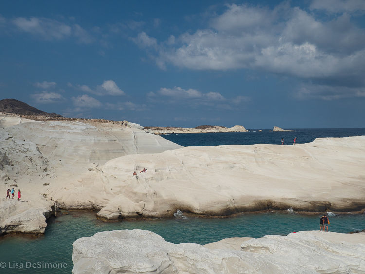 Amazing Sarakiniko beach …with people in the image for scale!!