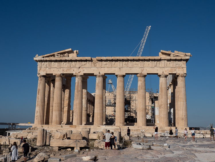 The temple of Athena - the Parthenon - in Athens. It's near impossible to get a photo without people and/or repairation equipment!