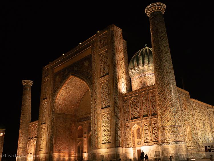 The registat at night. samarkand, uzbekistan