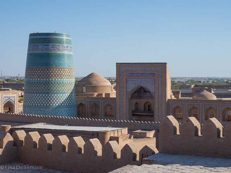view of itchan kala from the top of the watchtower. Khiva, uzbekistan