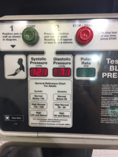 Checked my blood pressure at one of those grocery store stations. I think it's pretty good, could improve it a bit