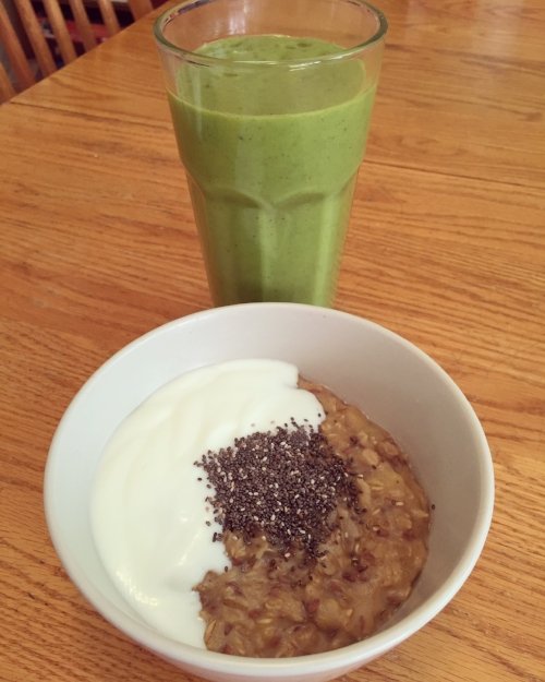 Yummy breakfast example, green smoothie and oatmeal with yogurt and chia seeds