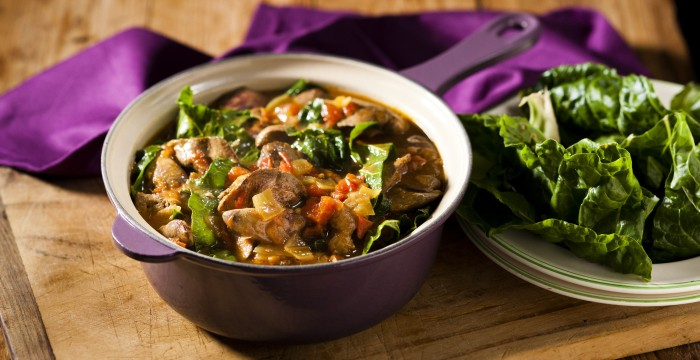 Healthy meal of chicken livers and spinach from Your Perfect Sishebo, full of healthy folate!