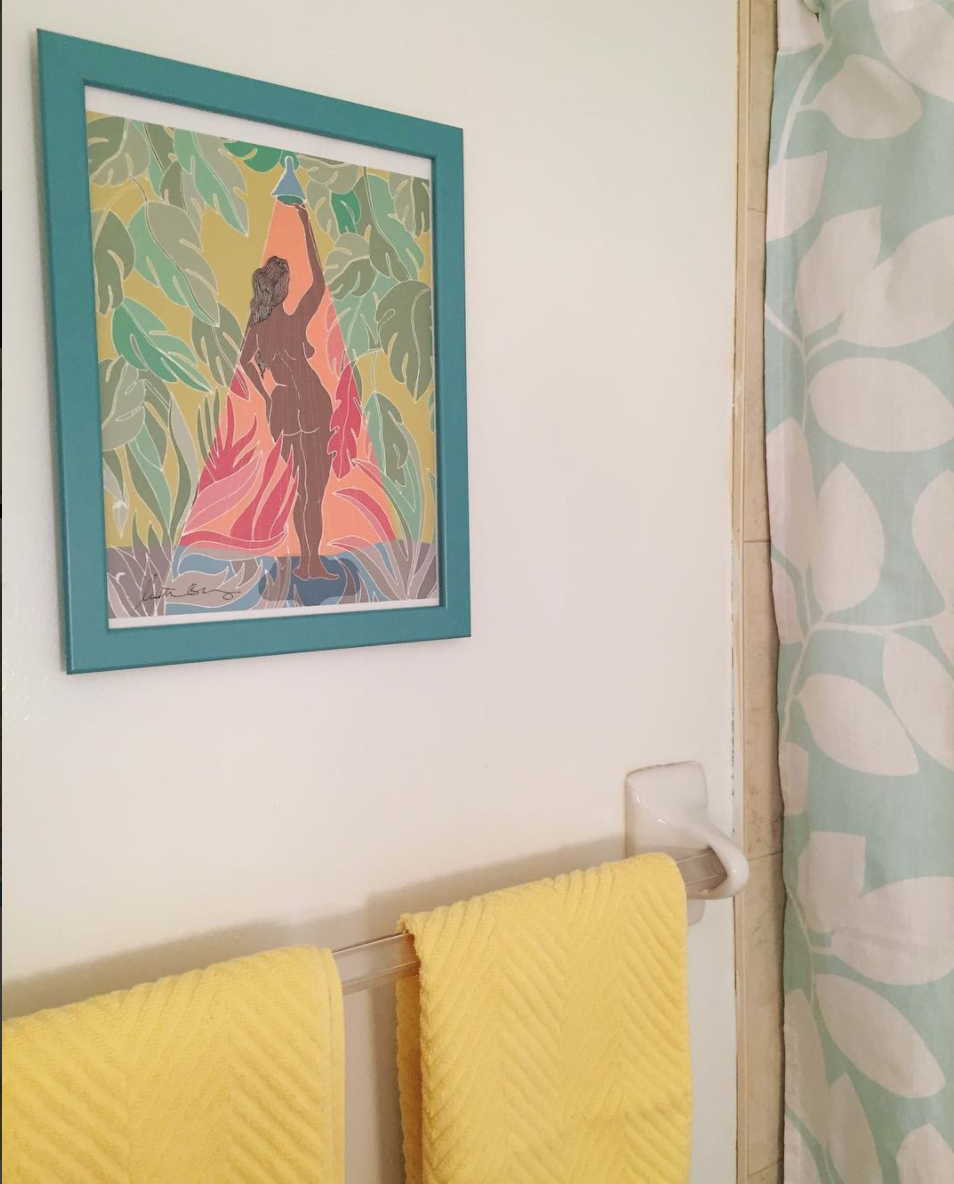 This is a photo I took in my bathroom of her painting 'Shower Goals'. When I saw it I knew I needed to buy it!