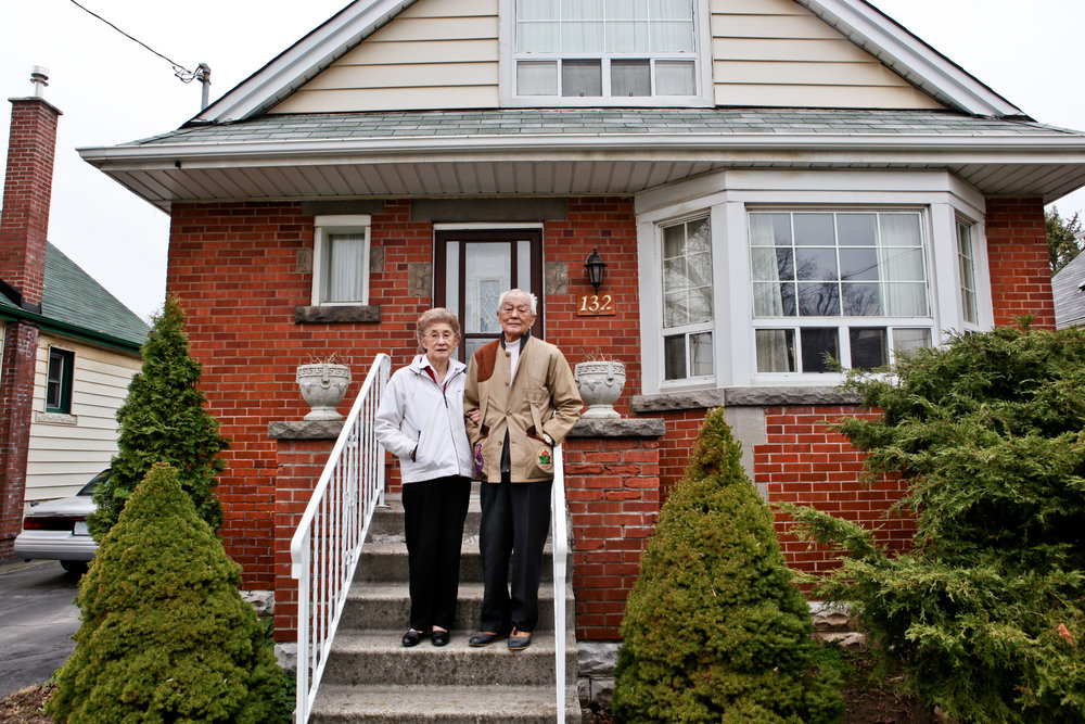 Gene & Gen Miki outside of their Hamilton home. Photo by Connie Tsang