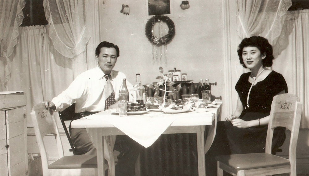 Gen & Gene Miki celebrating their first New Years Eve in Hamilton. December 1950.