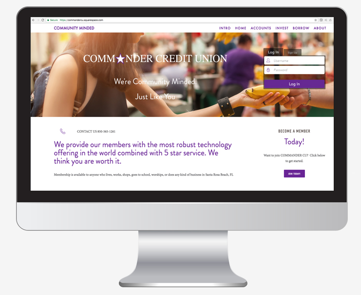 Mockup of commandercu.com, an OMNICOMMANDER solution