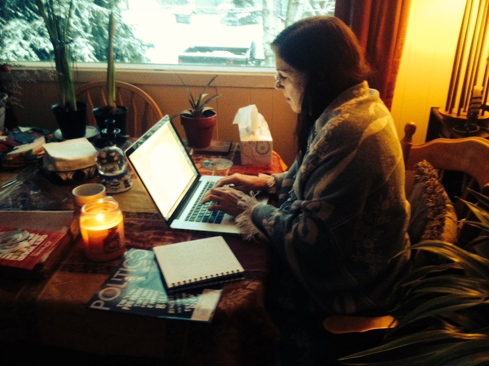 Working on the outline for book two in the Zilla series, in my favorite cozy spot. Wearing my mom's shawl for inspiration.