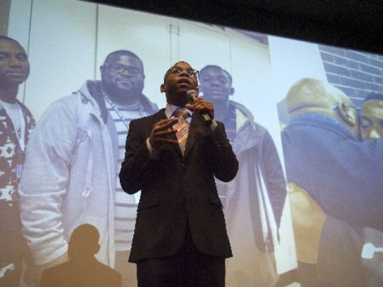 "December 10, 2016 - Jalen Washington, 17, practices his presentation for ManUp!, a male mentorship program, before a ""Pitch Night"" event led by the organization Let's Innovate Through Education (LITE) at Memphis Bioworks Foundation.     (Photo: Brandon Dill/Special to The Commercial Appeal)"