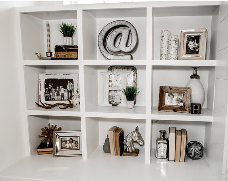 take advantage of your shelving! style even your smallest spaces with your little treasures like Becky did with her built ins!