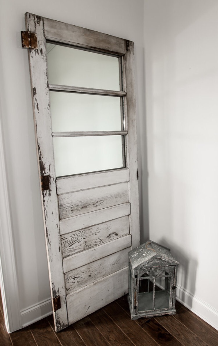 our old mirrored door goes perfect in this little nook!