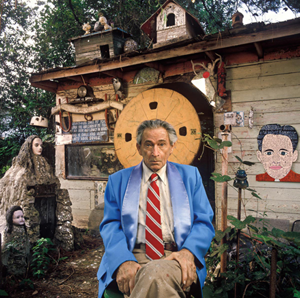 Howard Finster at his home in Paradise Garden located in North Georgia (Photo via fieldaesthetic.com)