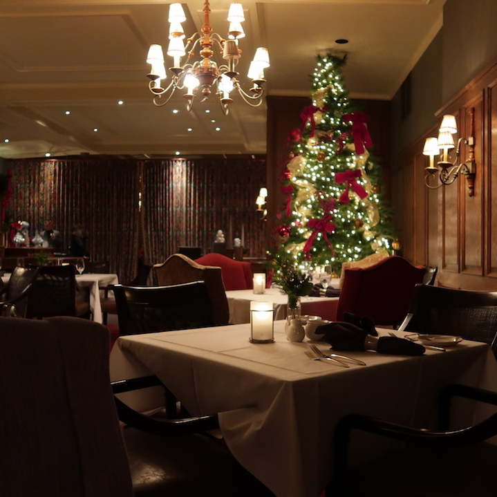 The Wisconsin Room decorated for the holiday season at American Club Resort in Kohler, Wisconsin.
