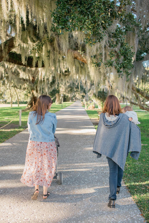 Walking under the oaks at the Jekyll Island Club Resort