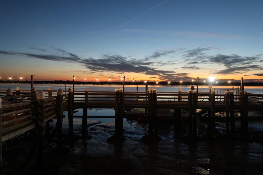 Sunset at The Wharf Restaurant at Jekyll Island Club Resort