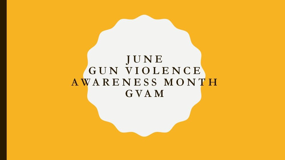 Gun violence is not an URBAN issue ..It's an AMERICA issue!     The agenda of  GVAM  is to create awareness, education and empowerment for individuals and communities nationally during the entire month of June.   We will sponsor activities addressing conflict resolution, healthy body/healthy minds, unity, gun laws, personal empowerment, professional development, summer solutions, teamwork initiatives and alternatives to violent behaviors.