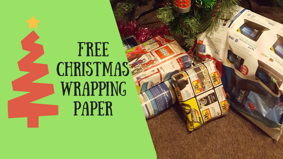 Free Christmas wrapping paper: picture of Christmas tree and presents wrapped in junk mail