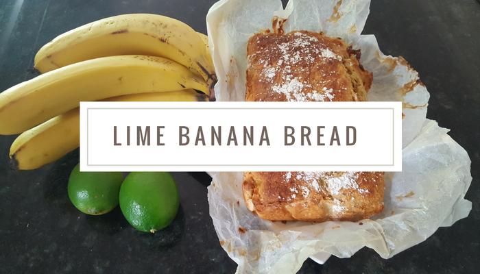 Image of banana bread, limes and bananas