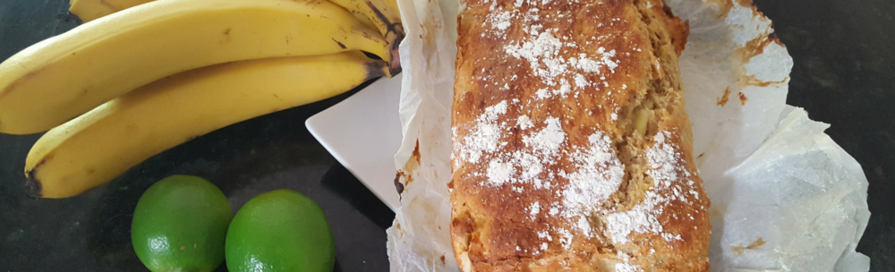 Image of banana bread, limes and bananas