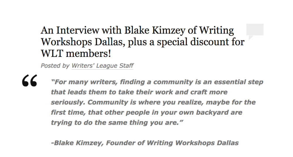 Blake Kimzey Writers' League of Texas