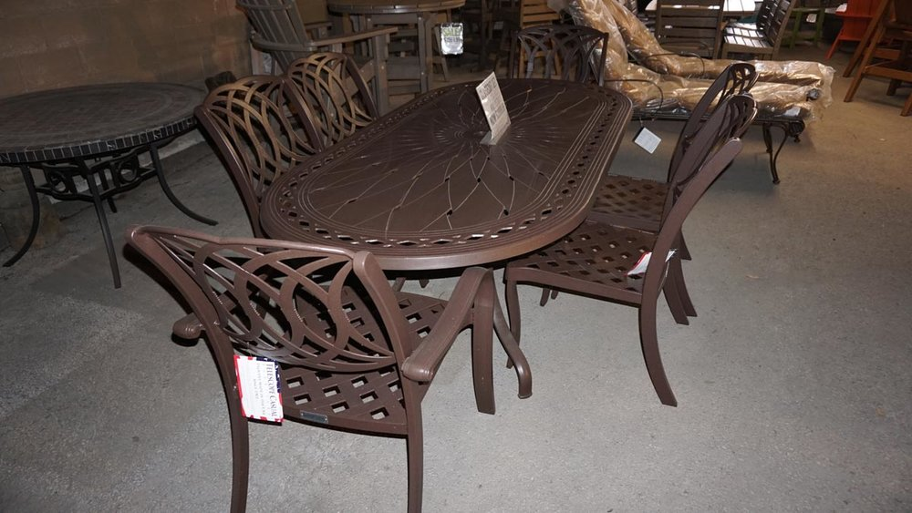 OASIS 7PC. CAST ALUMINUM - MADE IN USA - 15 YEAR WARRANTYKONA FINISH - 2 ARM CHAIRS & 4 SIDE CHAIRS84X42