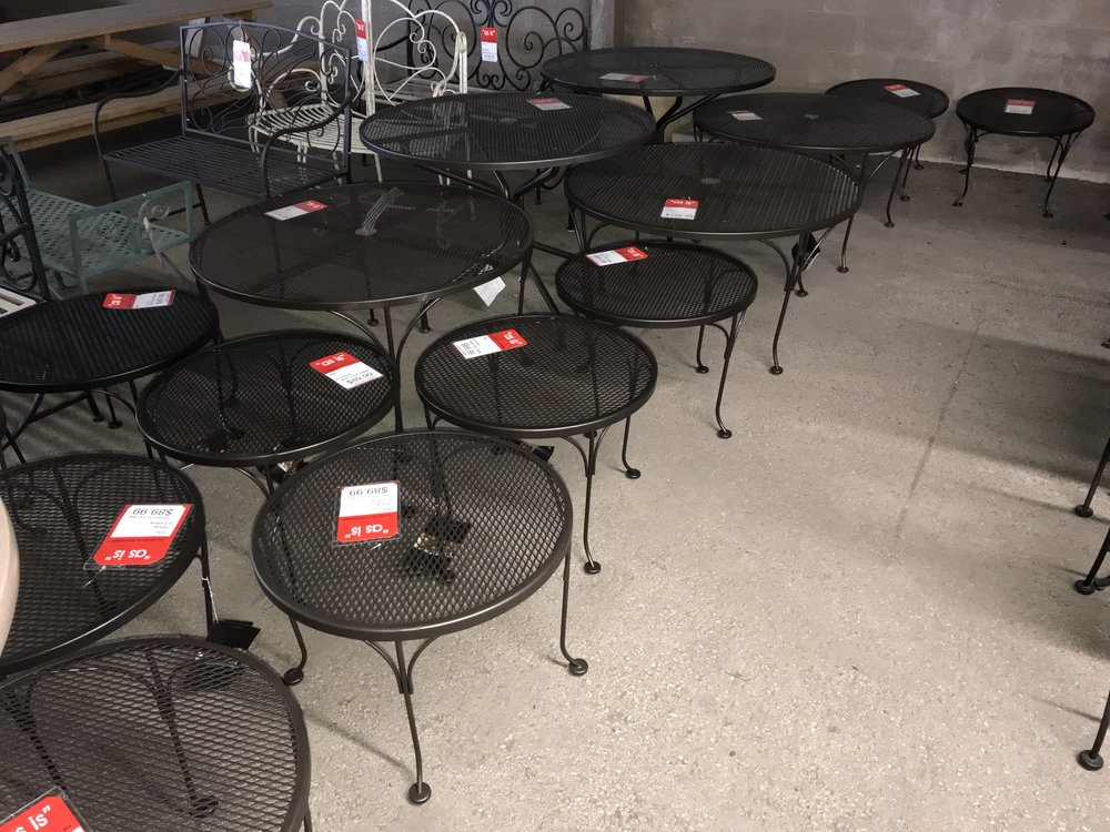 ASSORTED WOODARD WROUGHT IRON TABLES - ALL PRICED 50% OFF LIST!