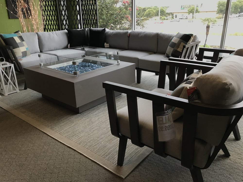 SEVILLE SECTIONAL6 PIECES - ALUMINUM FRAME IN ASH COLORCANVAS GRANITE CUSHIONSSALE PRICE: $4999.99FIREPIT & CLUB CHAIRS SOLD SEPERATELY