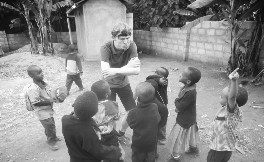 Marcus plays with the students at Tengeru Village School in Arusha Tanzania