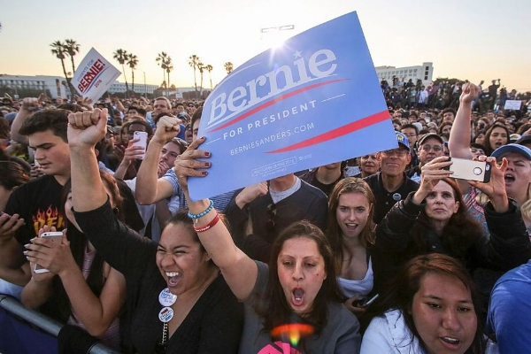 Feel the Bern an der Santa-Monica-Monica-High-School im Mai 2016: Versteh einer die Jugend