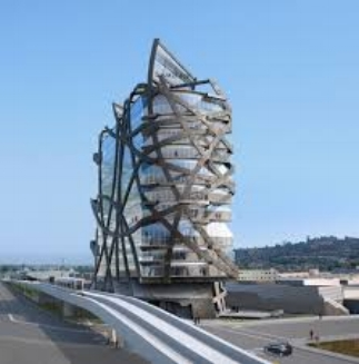 Los Angeles hat keine Bau-Geschichte, sagt der Architekt, daher kann er sich austoben:Büroturm an der Kreuzung von Jefferson und National Boulevard