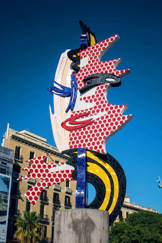 "A Lichtenstein ,my favorite pop artist,sculpture created for the 1992 Barcelona Summer Olympics called ""El Cap de Barcelona"""