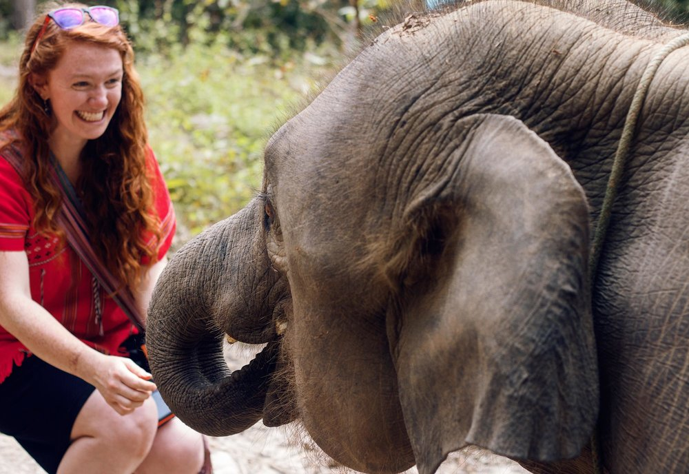 Rika with an elephant.