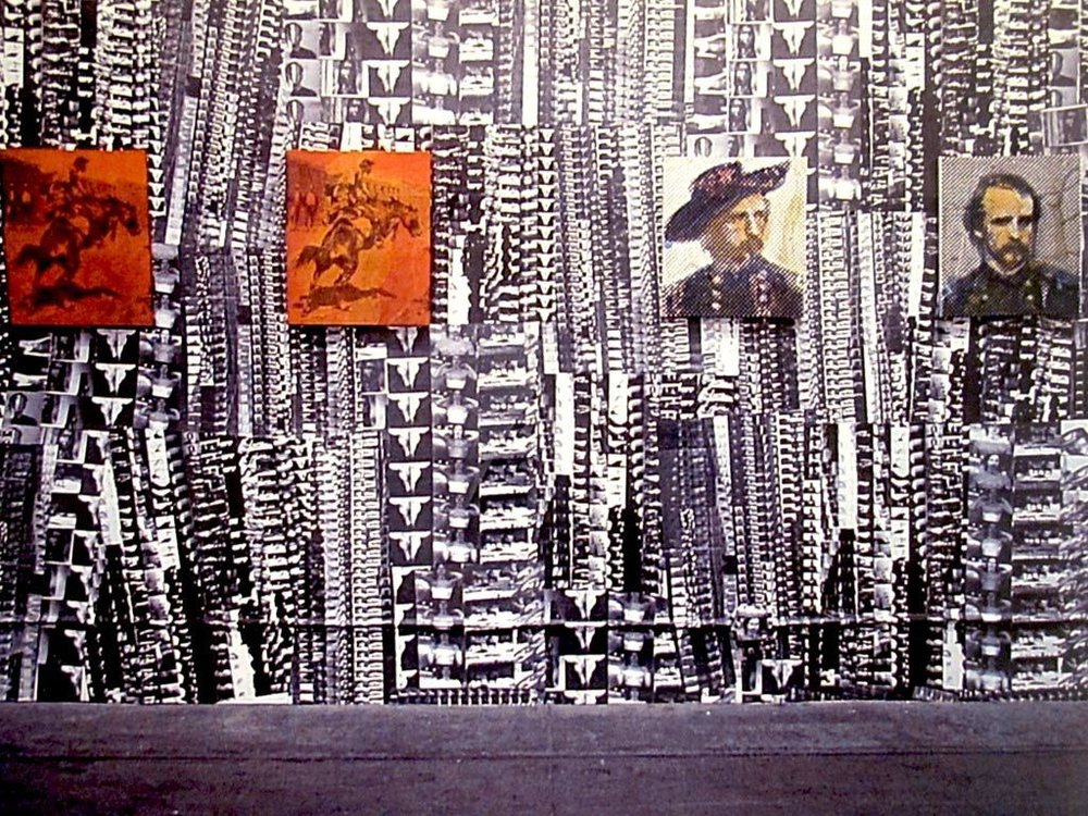 "Installation View, ""Fort Apache"", 2001, Silkscreened wallpaper from 16mm film negatives and paintings."