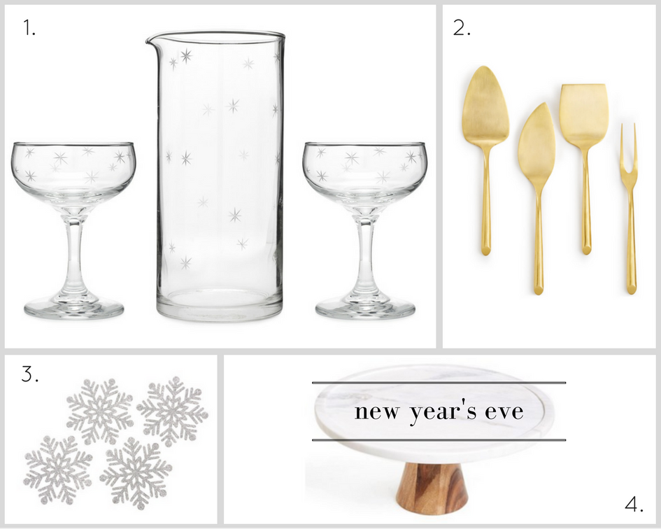 1. Galaxy Mixing Glass + Coupe Set, $98,  Love & Victory  | 2. Gold Cheese Servers, $29.99,  Macy's  | 3. Kate Aspen Felt Snowflake Coasters, $16,  Target  | 4. Thirstystone Marble and Wood Serving Platter, $45.99,  Nordstrom .