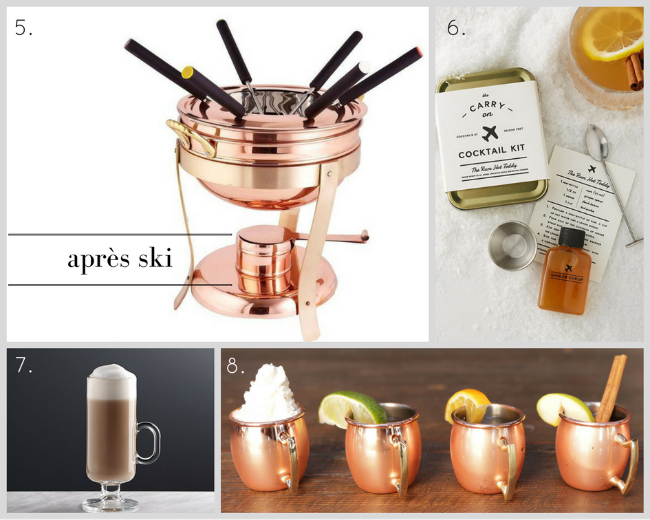 5. Copper and Brass Fondue Set, $82,  Home Depot  | 6. Rum Hot Toddy Kit, $24,  Anthropologie  |  7. Irish Coffee Mug, $3.95,  Crate & Barrel  | 8. Copper Mug Shot Glass Set, $8.99,  Target .