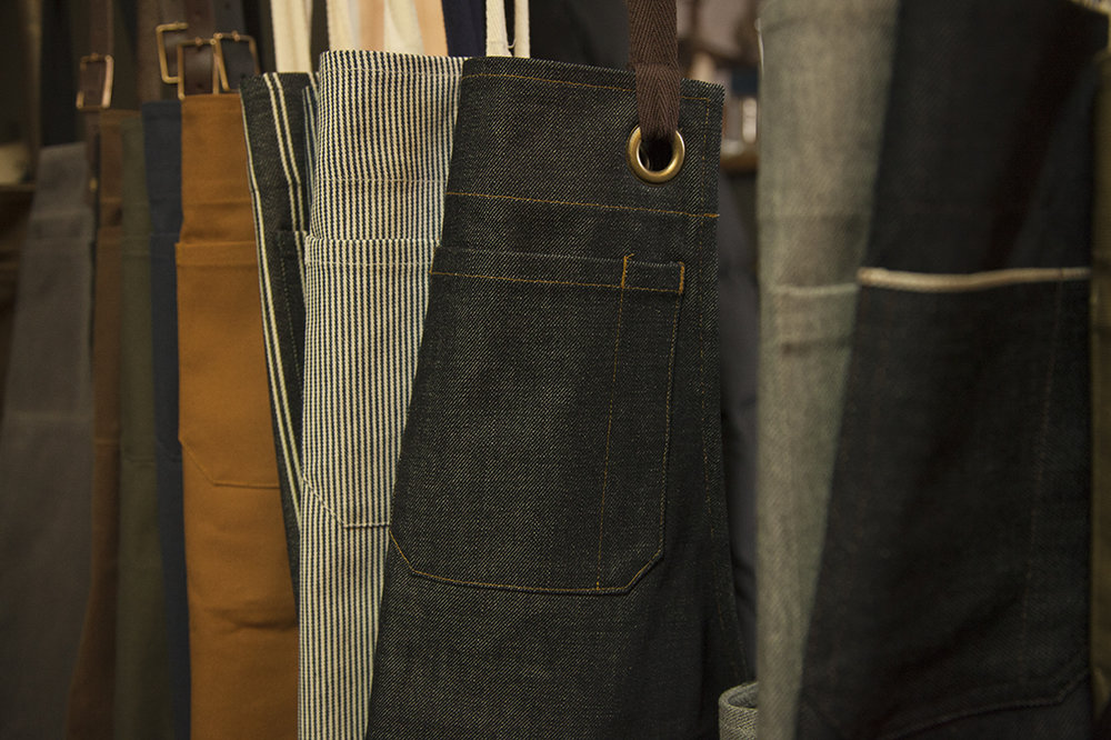 Each item from Jones of Boerum Hill features a chest pocket with a pen holder, large enough to slip a Sharpie into, and bartacked at the corners for durability.