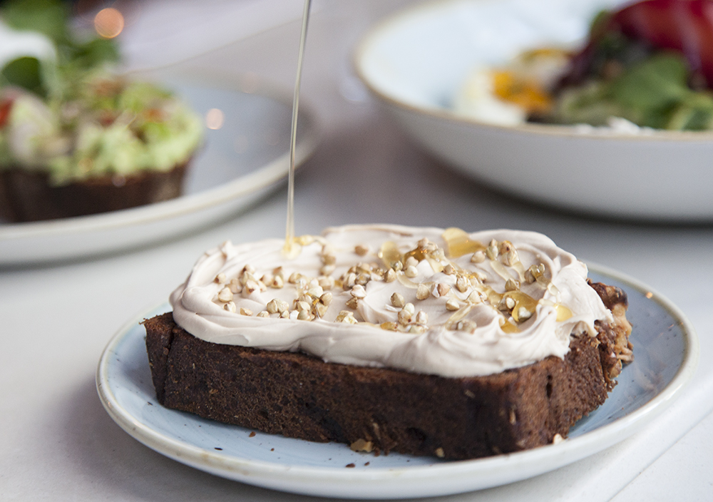 The gluten-free banana bread is a must-order, topped with espresso mascarpone, toasted buckwheat and a drizzle of honey.