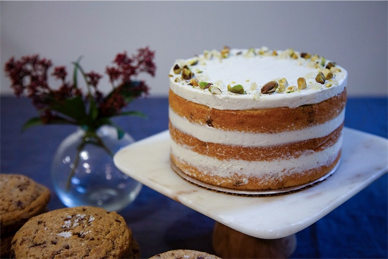 Poppy's pastry chefs have perfected the recipe for sea salt chocolate chip cookies, which are stacked alongside a honey, candied ginger and pistachio layer cake.