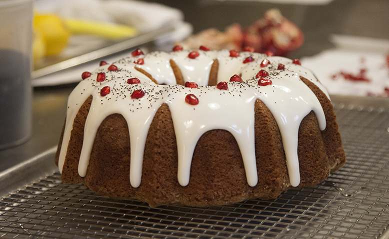 A lemon poppy pomegranate bundt in progress, at the hands of Poppy's Executive Pastry Chef  Caren Rothman .