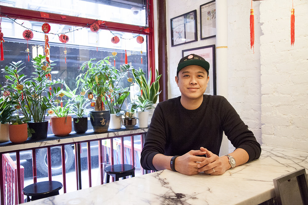 Owner Wilson Tang at the bar of Fung Tu, located in the Lower East Side of Manhattan.