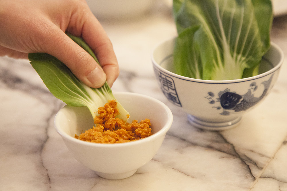 A dish that's lasted from Chef Jonathan's pop-up series:  raw bok choy with house-made shrimp paste made from dehydrated shrimp, tomato paste, scallion, ginger and garlic.