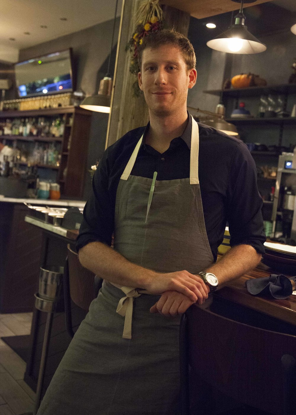 Chef-owner Greg Baxtrom at the counter of his restaurant, Olmsted, in Prospect Heights.