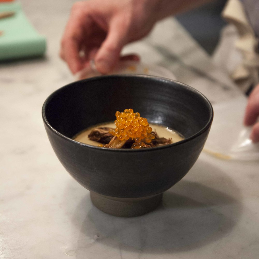 Olmsted's chawanmushi is made with their own dashi, roasted maitake mushrooms, smoked trout roe + grated bottarga.