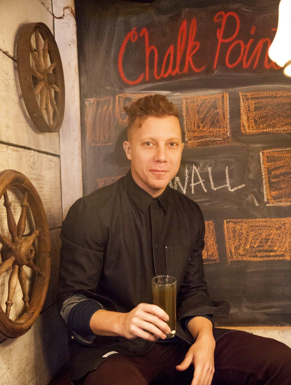 Restaurateur Matt Levine at his market-to-table restaurant, Chalk Point Kitchen, in Soho.