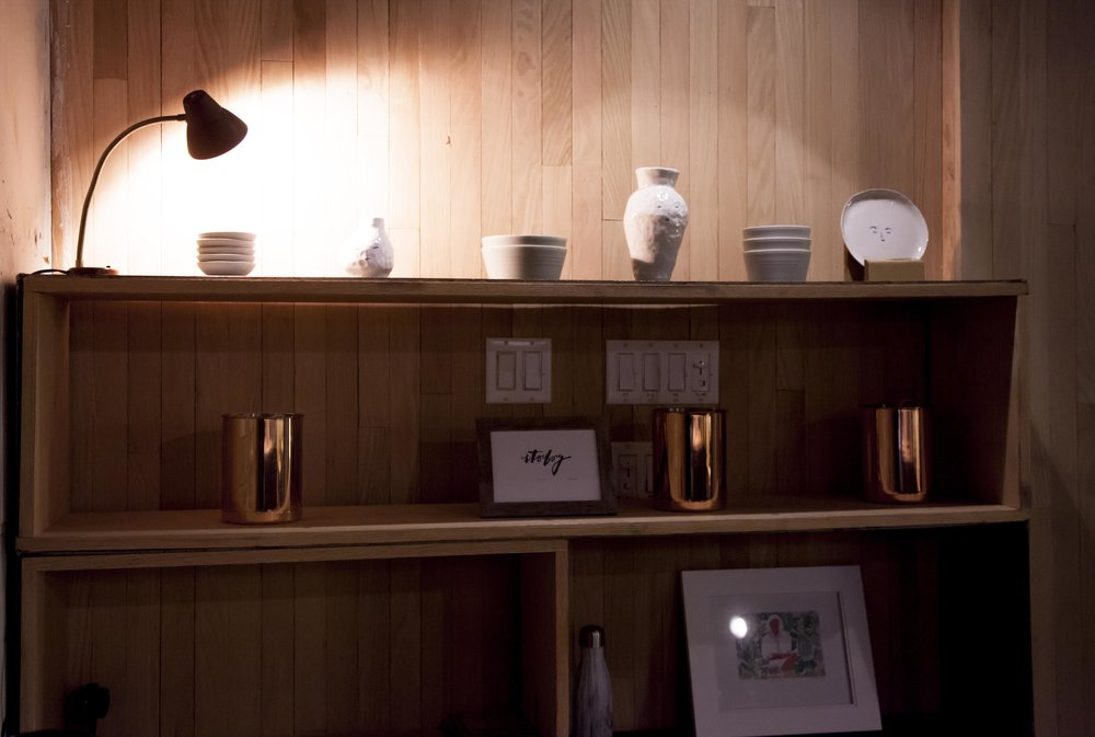 A display of the customized plateware and copperware used for service at Atoboy.  The Atoboy x Soilbaker collaboration plateware is available for purchase.
