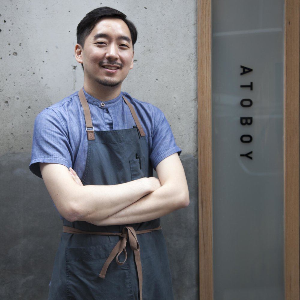 The aprons at Atoboy were inspired by Korean hanbok and custom-designed by Chef Junghyun's friend, Sungho Ahn.