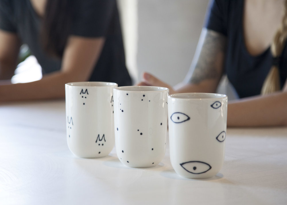 The three designs of Franca's original Finca collection, shown as  cups .